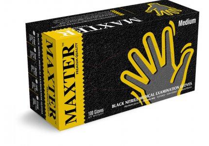 MAXTER rękawice nitrylowe czarne PF r. M - Grube